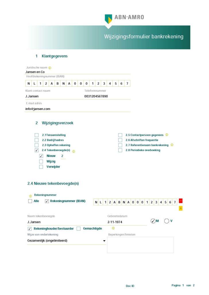 Formulier voor wijzigingen bankrekeningen ABN AMRO corporate accounts