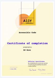 Certificaat Accessible code