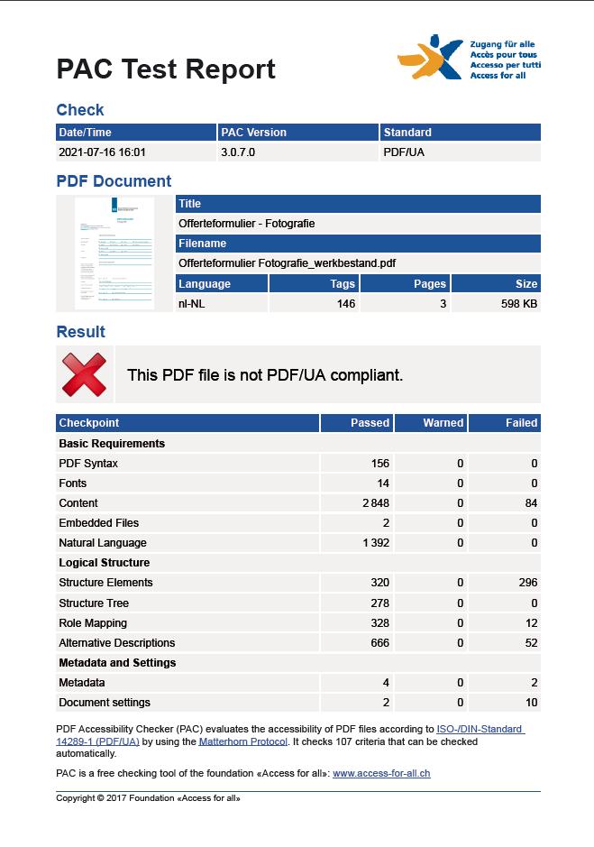 PAC test rapport bestaand formulier - in basis al goed - voor verbetering vatbaar